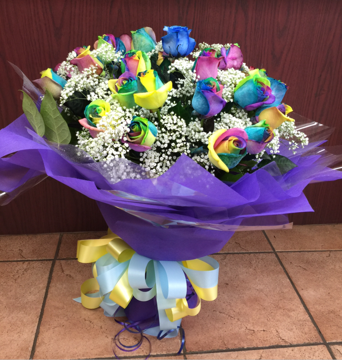 2 Dozen of Rainbow also Blue Roses available