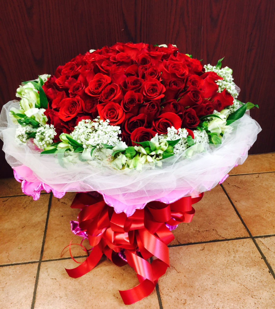 99 Red Roses with Alstroemeria